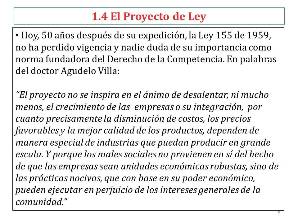 8 1.4 El Proyecto de Ley Hoy, 50 años después de su expedición, la Ley 155 de 1959, no ha perdido vigencia y nadie duda de su importancia como norma f