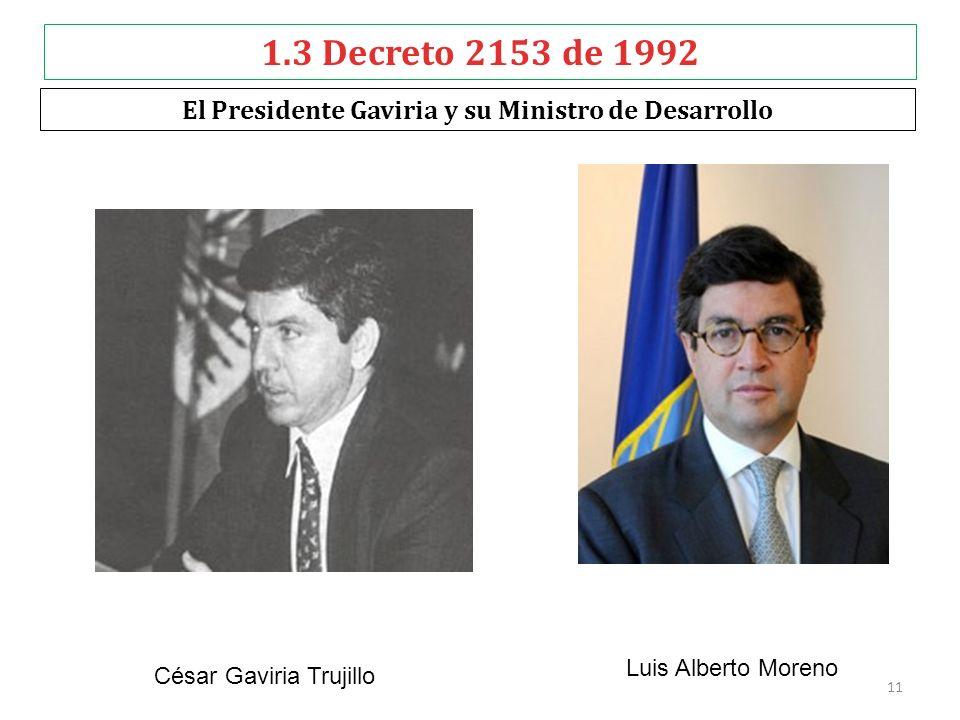 1.3 Decreto 2153 de 1992 El Presidente Gaviria y su Ministro de Desarrollo Luis Alberto Moreno César Gaviria Trujillo 11