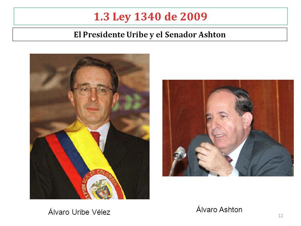 1.3 Ley 1340 de 2009 El Presidente Uribe y el Senador Ashton Álvaro Ashton Álvaro Uribe Vélez 12