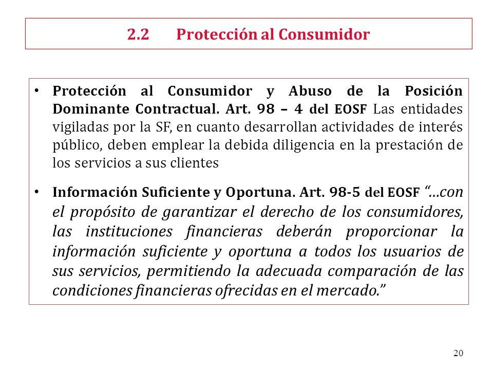 20 Protección al Consumidor y Abuso de la Posición Dominante Contractual. Art. 98 – 4 del EOSF Las entidades vigiladas por la SF, en cuanto desarrolla