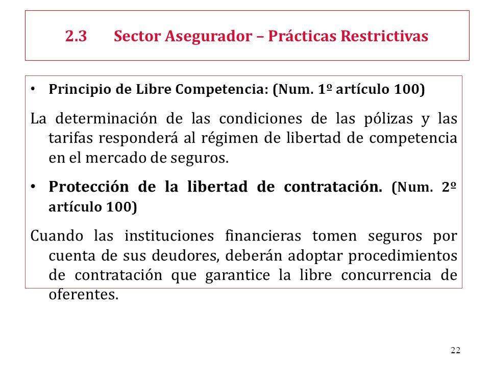 22 Principio de Libre Competencia: (Num. 1º artículo 100) La determinación de las condiciones de las pólizas y las tarifas responderá al régimen de li
