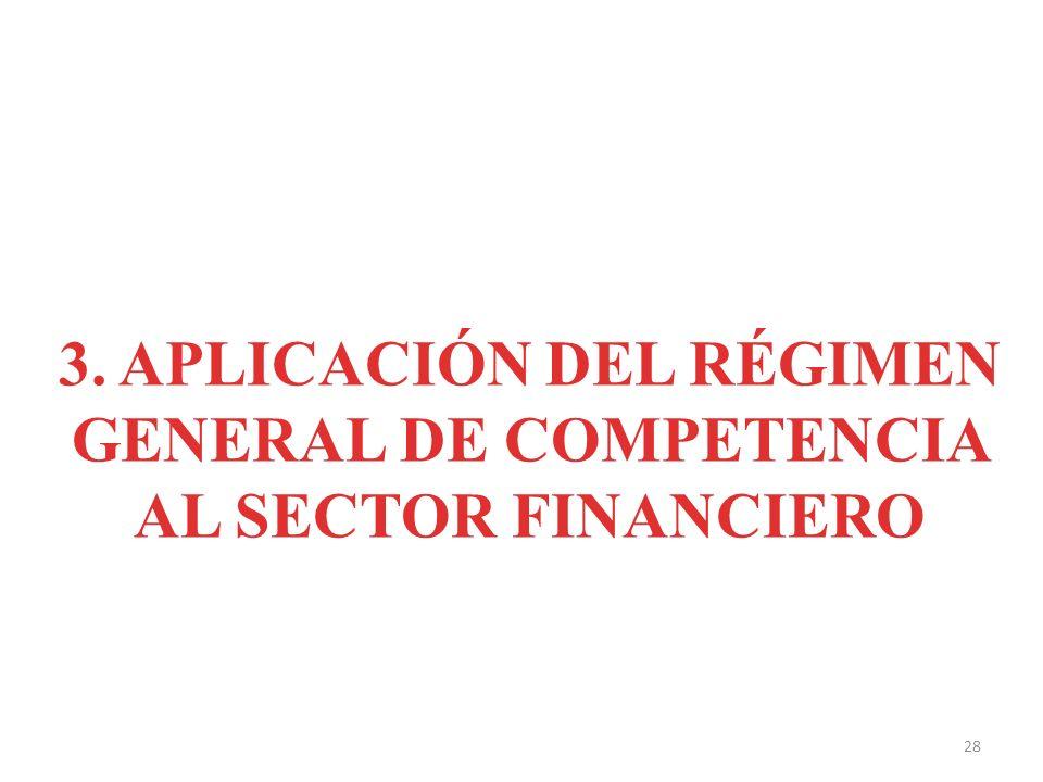 3. APLICACIÓN DEL RÉGIMEN GENERAL DE COMPETENCIA AL SECTOR FINANCIERO 28