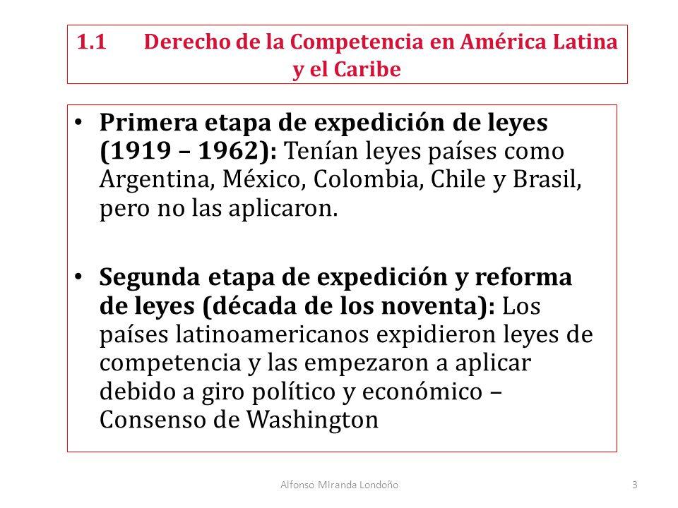 Alfonso Miranda Londoño3 Primera etapa de expedición de leyes (1919 – 1962): Tenían leyes países como Argentina, México, Colombia, Chile y Brasil, pero no las aplicaron.