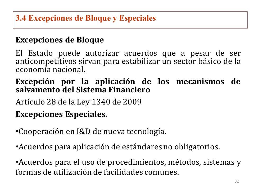 3.4 Excepciones de Bloque y Especiales Excepciones de Bloque El Estado puede autorizar acuerdos que a pesar de ser anticompetitivos sirvan para estabilizar un sector básico de la economía nacional.