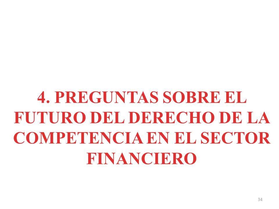 4. PREGUNTAS SOBRE EL FUTURO DEL DERECHO DE LA COMPETENCIA EN EL SECTOR FINANCIERO 34