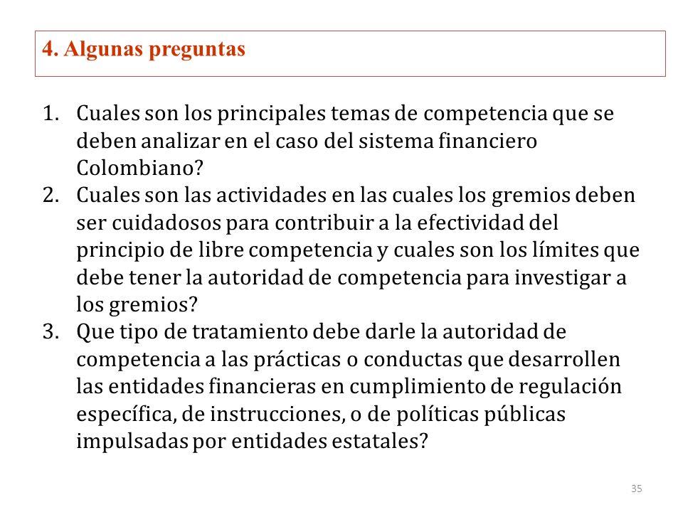 4. Algunas preguntas 1.Cuales son los principales temas de competencia que se deben analizar en el caso del sistema financiero Colombiano? 2.Cuales so