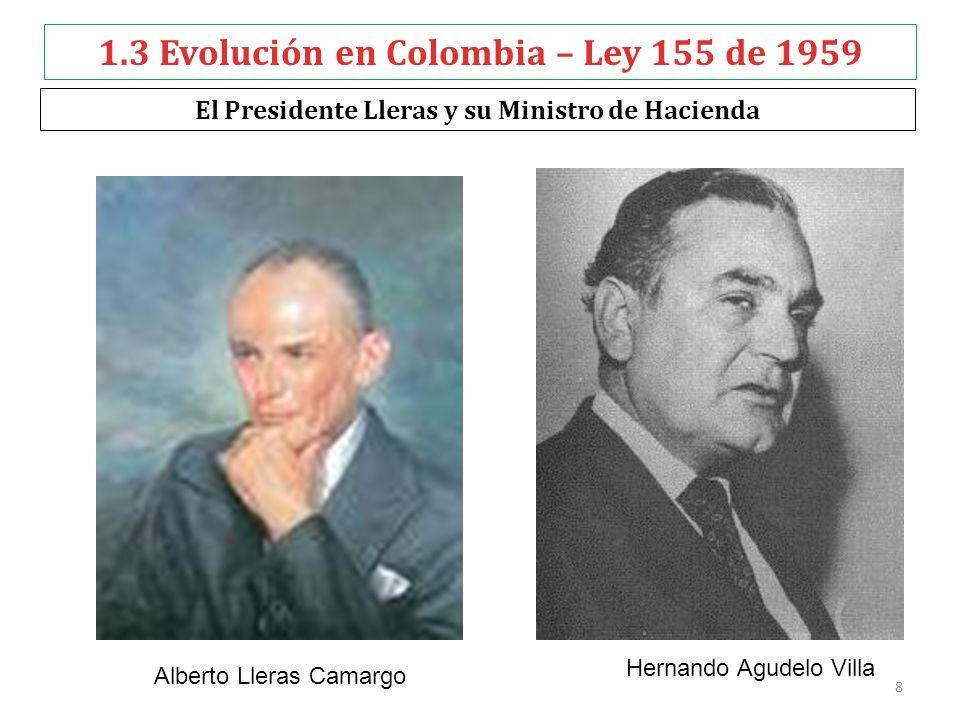 1.3 Evolución en Colombia – Ley 155 de 1959 El Presidente Lleras y su Ministro de Hacienda Hernando Agudelo Villa Alberto Lleras Camargo 8