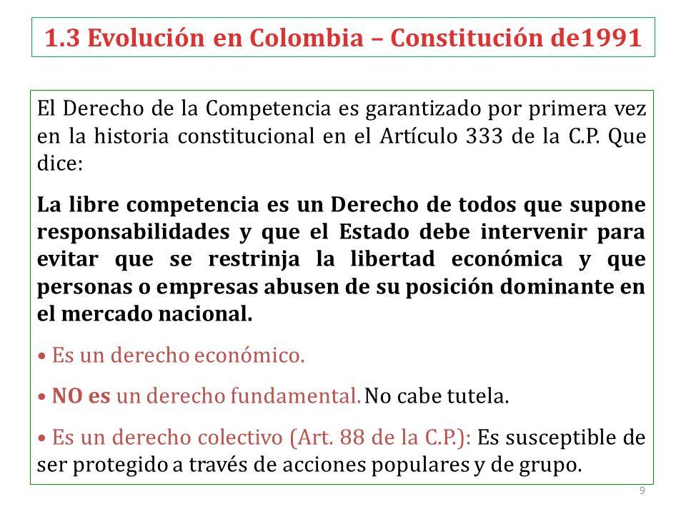 9 El Derecho de la Competencia es garantizado por primera vez en la historia constitucional en el Artículo 333 de la C.P. Que dice: La libre competenc