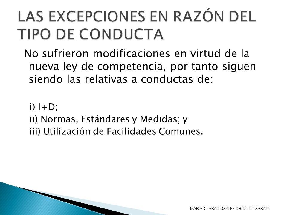 No sufrieron modificaciones en virtud de la nueva ley de competencia, por tanto siguen siendo las relativas a conductas de: i) I+D; ii) Normas, Estánd