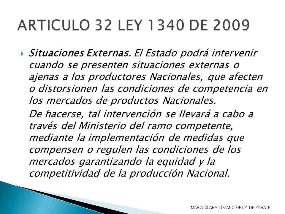 Situaciones Externas. El Estado podrá intervenir cuando se presenten situaciones externas o ajenas a los productores Nacionales, que afecten o distors