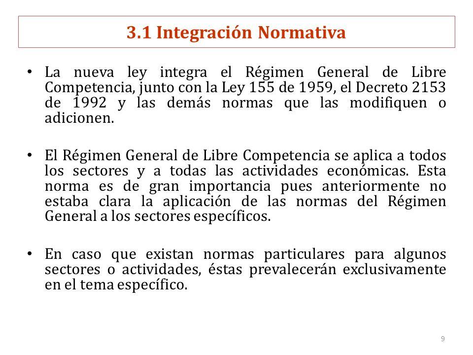 9 3.1 Integración Normativa La nueva ley integra el Régimen General de Libre Competencia, junto con la Ley 155 de 1959, el Decreto 2153 de 1992 y las demás normas que las modifiquen o adicionen.