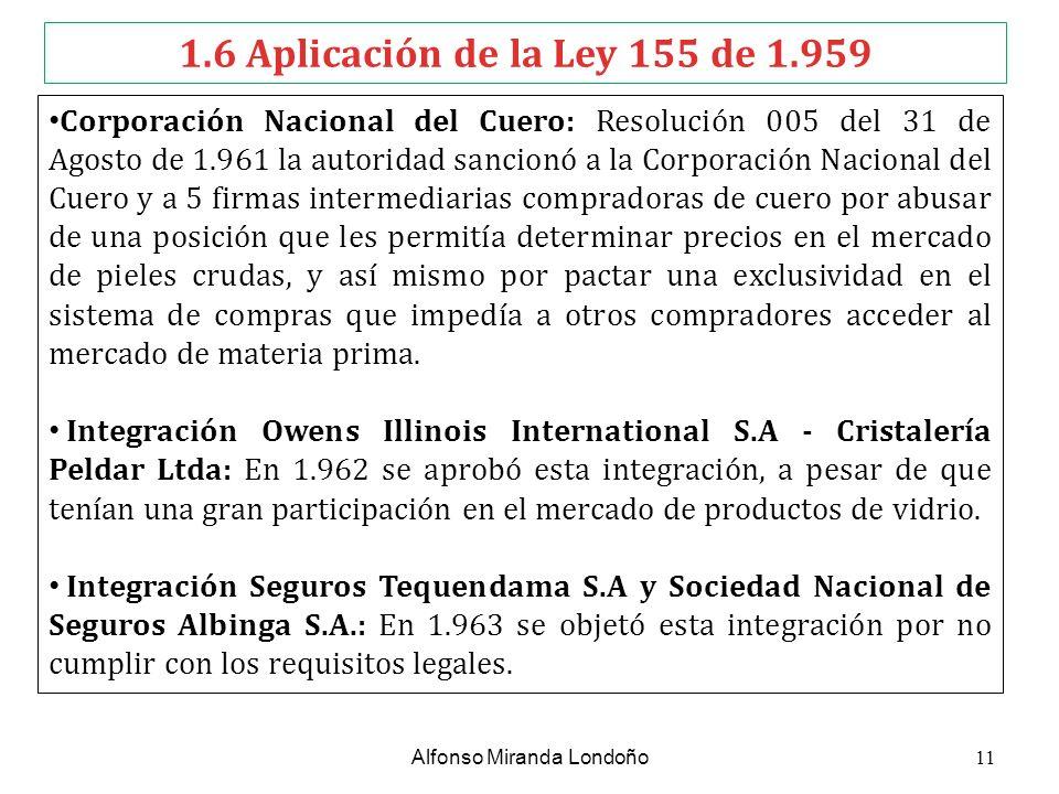 1.6 Aplicación de la Ley 155 de 1.959 Corporación Nacional del Cuero: Resolución 005 del 31 de Agosto de 1.961 la autoridad sancionó a la Corporación