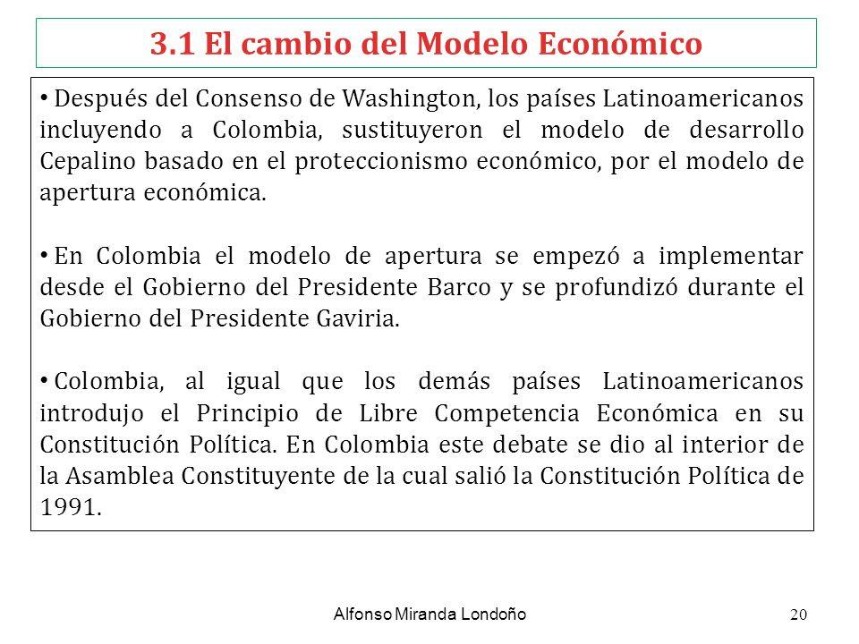 3.1 El cambio del Modelo Económico Después del Consenso de Washington, los países Latinoamericanos incluyendo a Colombia, sustituyeron el modelo de de