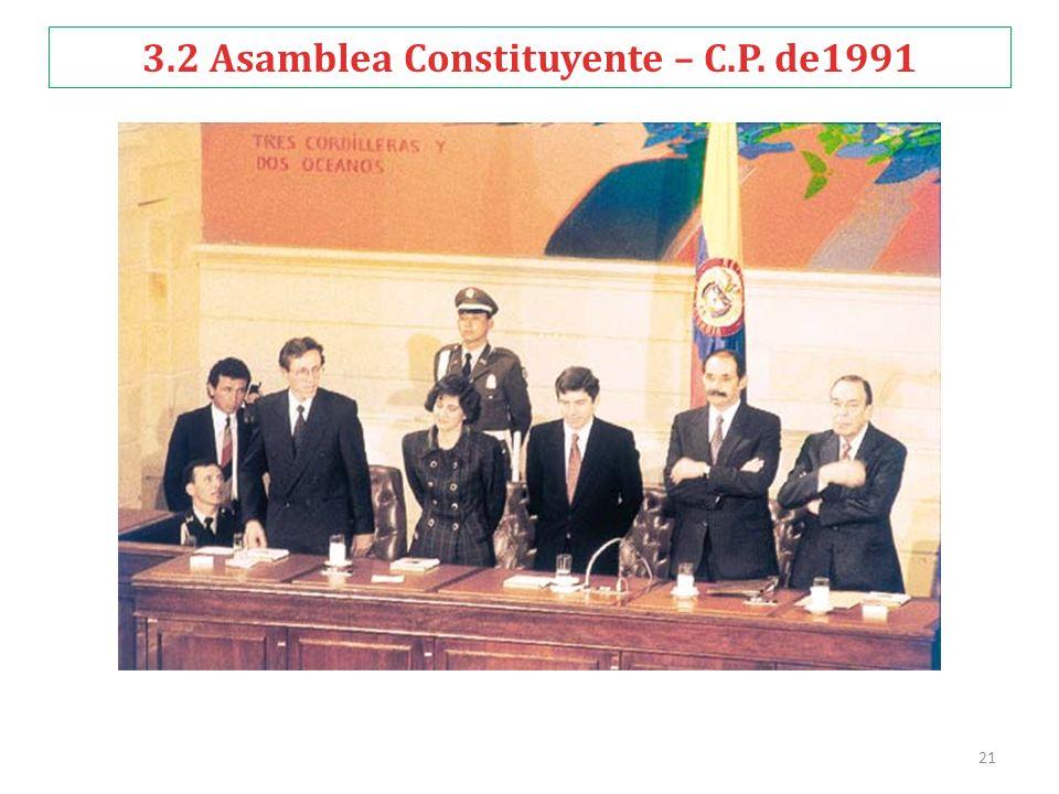 21 3.2 Asamblea Constituyente – C.P. de1991