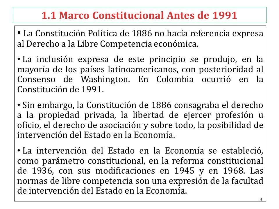 1.1 Marco Constitucional Antes de 1991 La Constitución Política de 1886 no hacía referencia expresa al Derecho a la Libre Competencia económica. La in