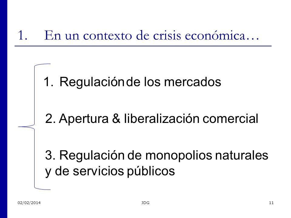 02/02/2014JDG11 1.En un contexto de crisis económica… 1.Regulación de los mercados 2. Apertura & liberalización comercial 3. Regulación de monopolios