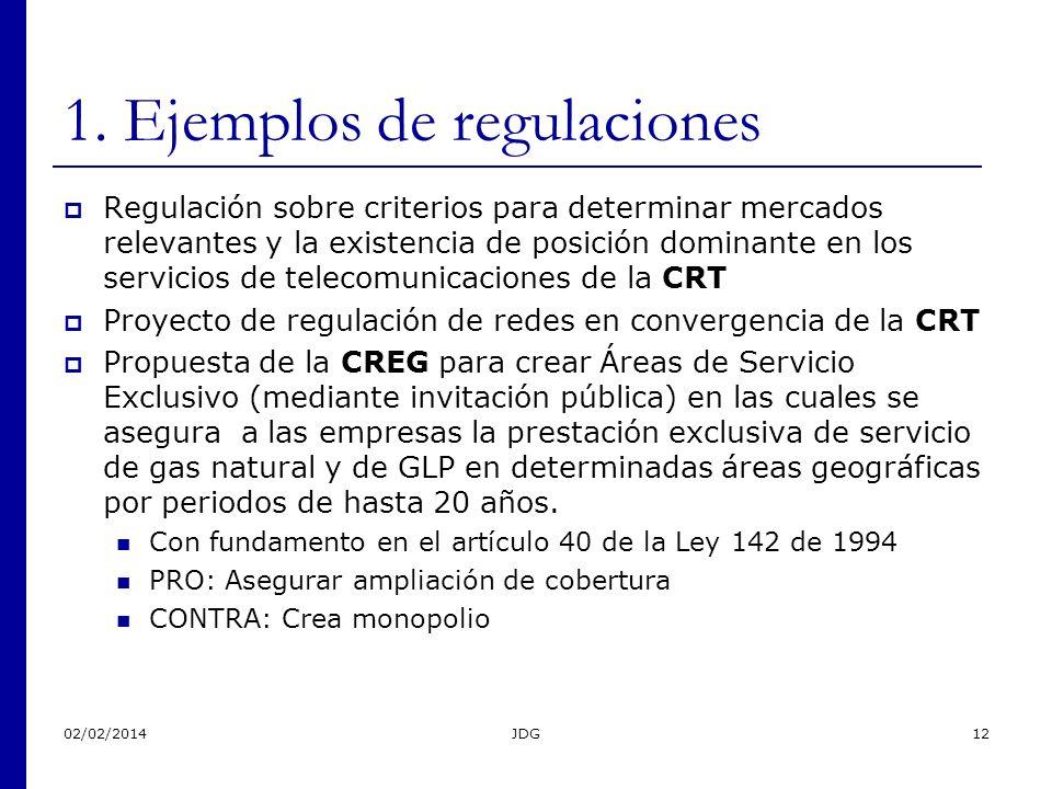 02/02/2014JDG12 1. Ejemplos de regulaciones Regulación sobre criterios para determinar mercados relevantes y la existencia de posición dominante en lo