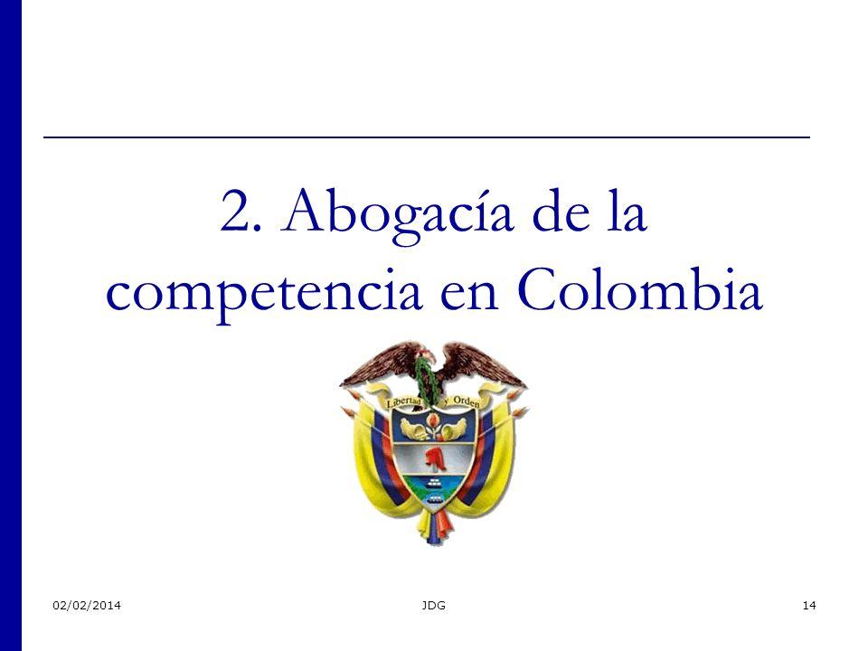 02/02/2014JDG14 2. Abogacía de la competencia en Colombia