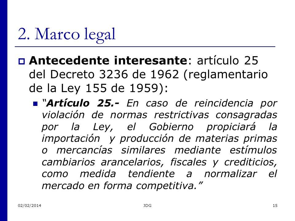 02/02/2014JDG15 2. Marco legal Antecedente interesante: artículo 25 del Decreto 3236 de 1962 (reglamentario de la Ley 155 de 1959): Artículo 25.- En c