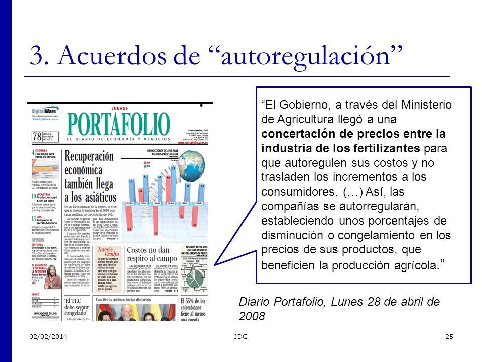 02/02/2014JDG25 3. Acuerdos de autoregulación Diario Portafolio, Lunes 28 de abril de 2008 El Gobierno, a través del Ministerio de Agricultura llegó a