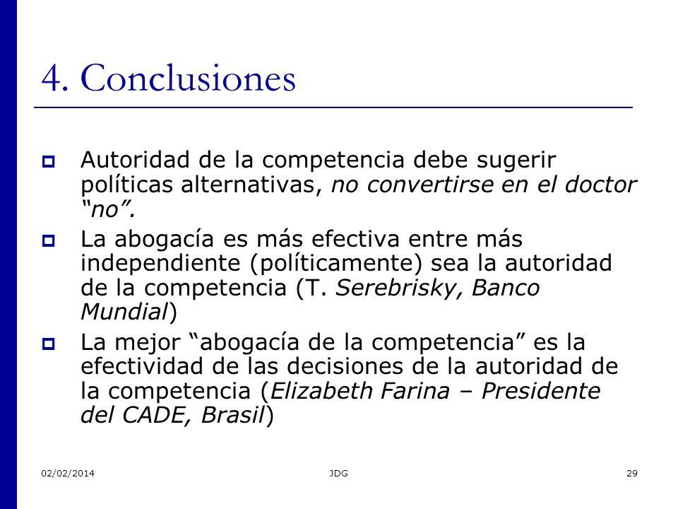 02/02/2014JDG29 4. Conclusiones Autoridad de la competencia debe sugerir políticas alternativas, no convertirse en el doctor no. La abogacía es más ef