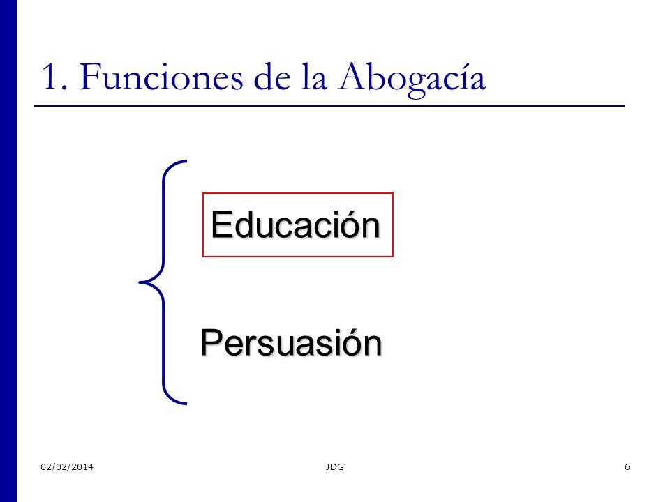 02/02/2014JDG6 1. Funciones de la Abogacía Educación Persuasión