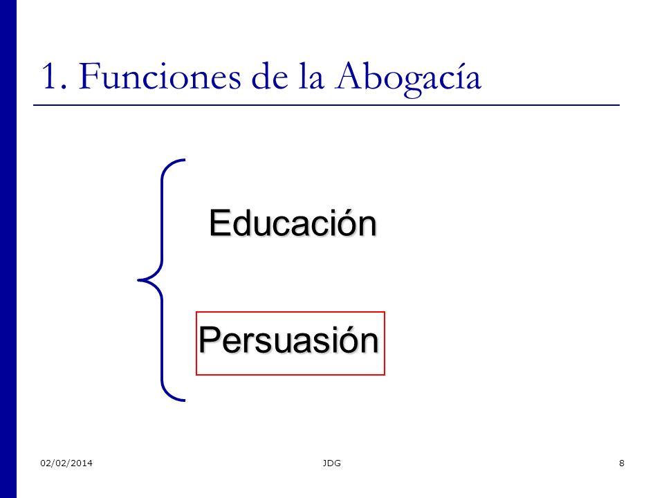02/02/2014JDG8 1. Funciones de la Abogacía Educación Persuasión