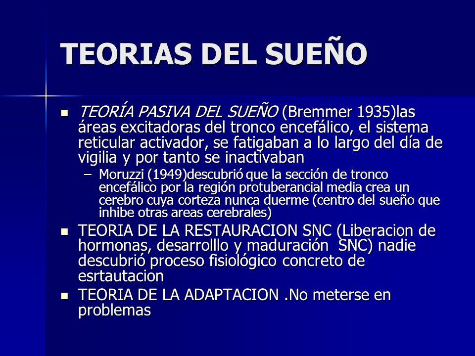 TEORÍA PASIVA DEL SUEÑO (Bremmer 1935)las áreas excitadoras del tronco encefálico, el sistema reticular activador, se fatigaban a lo largo del día de