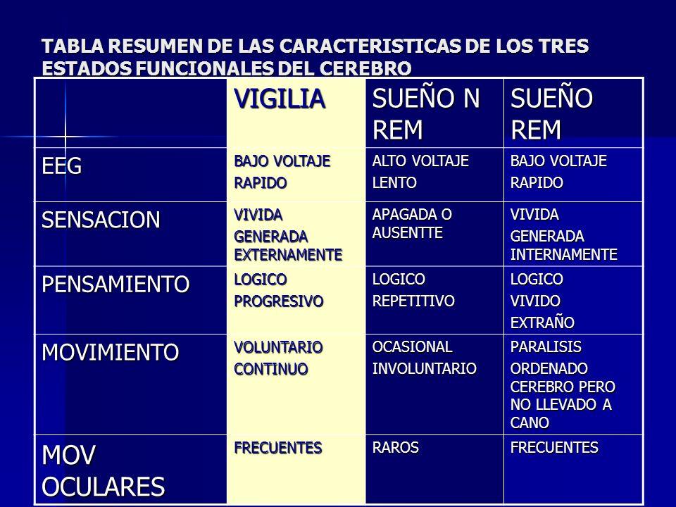 TABLA RESUMEN DE LAS CARACTERISTICAS DE LOS TRES ESTADOS FUNCIONALES DEL CEREBRO VIGILIA SUEÑO N REM SUEÑO REM EEG BAJO VOLTAJE RAPIDO ALTO VOLTAJE LE