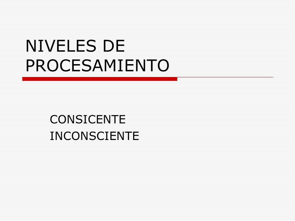 NIVELES DE PROCESAMIENTO CONSICENTE INCONSCIENTE