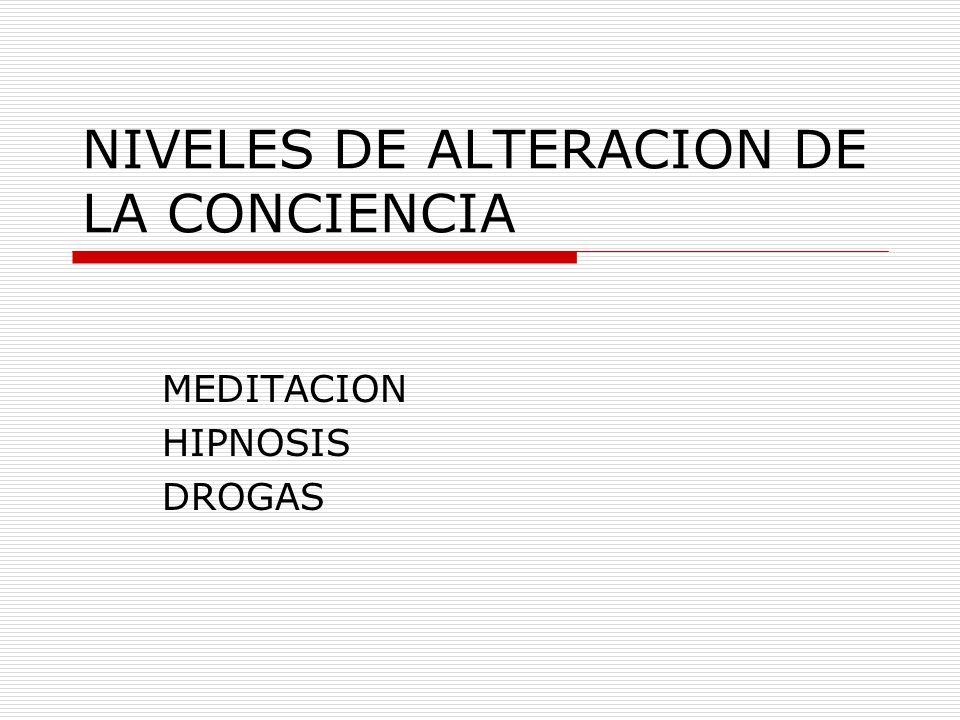 NIVELES DE ALTERACION DE LA CONCIENCIA MEDITACION HIPNOSIS DROGAS