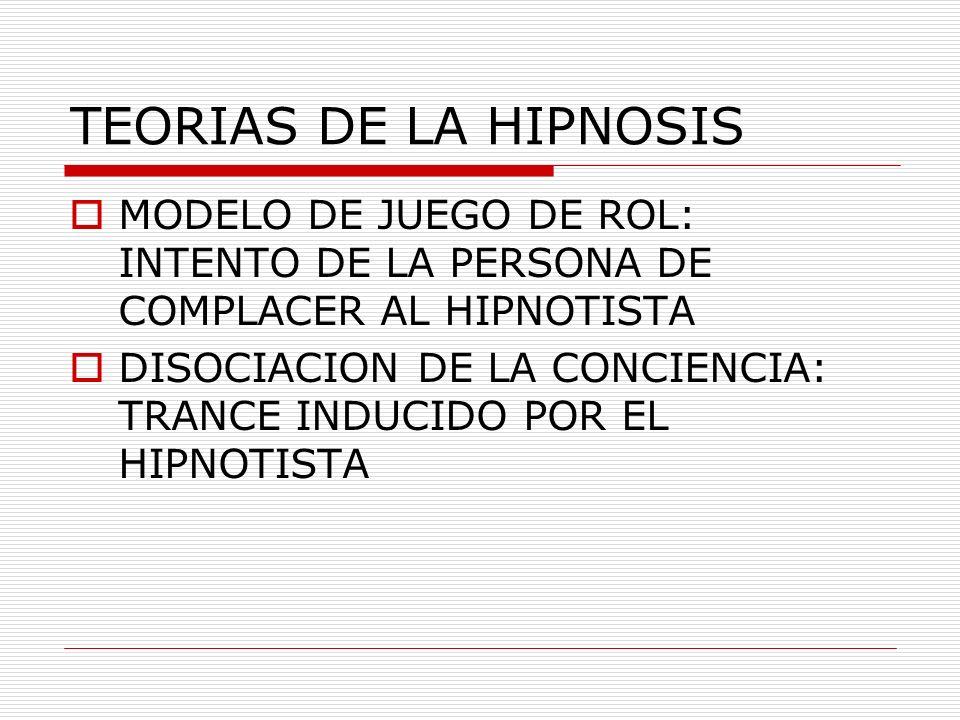 TEORIAS DE LA HIPNOSIS MODELO DE JUEGO DE ROL: INTENTO DE LA PERSONA DE COMPLACER AL HIPNOTISTA DISOCIACION DE LA CONCIENCIA: TRANCE INDUCIDO POR EL H