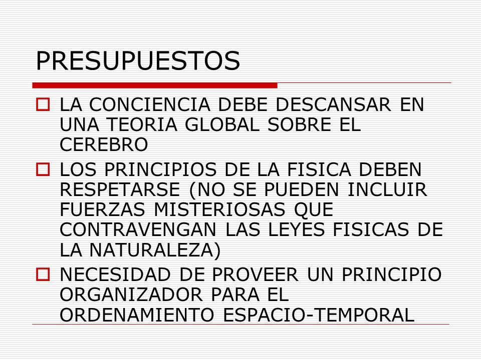 PRESUPUESTOS LA CONCIENCIA DEBE DESCANSAR EN UNA TEORIA GLOBAL SOBRE EL CEREBRO LOS PRINCIPIOS DE LA FISICA DEBEN RESPETARSE (NO SE PUEDEN INCLUIR FUE