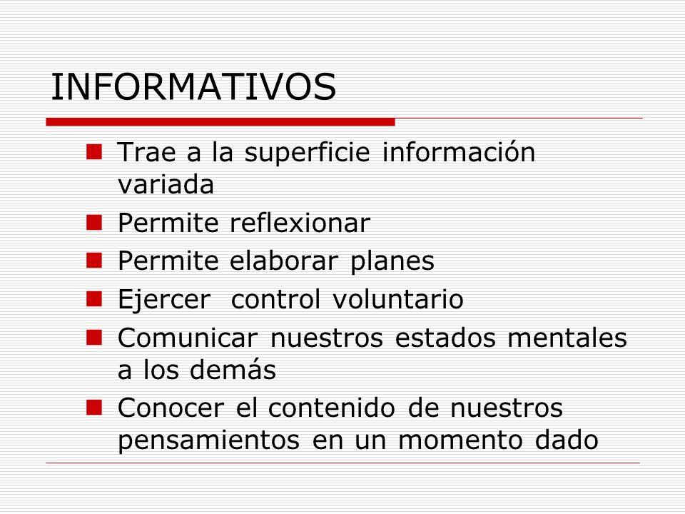 INFORMATIVOS Trae a la superficie información variada Permite reflexionar Permite elaborar planes Ejercer control voluntario Comunicar nuestros estado