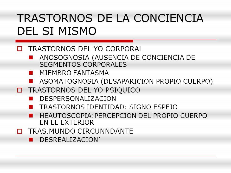 TRASTORNOS DE LA CONCIENCIA DEL SI MISMO TRASTORNOS DEL YO CORPORAL ANOSOGNOSIA (AUSENCIA DE CONCIENCIA DE SEGMENTOS CORPORALES MIEMBRO FANTASMA ASOMA