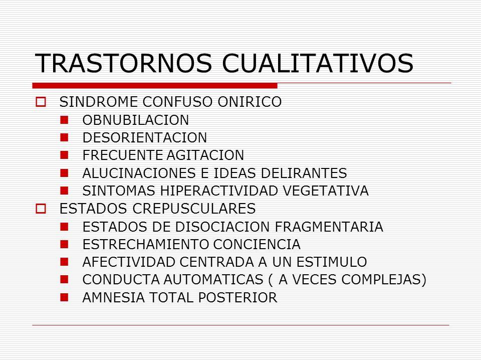 TRASTORNOS CUALITATIVOS SINDROME CONFUSO ONIRICO OBNUBILACION DESORIENTACION FRECUENTE AGITACION ALUCINACIONES E IDEAS DELIRANTES SINTOMAS HIPERACTIVI
