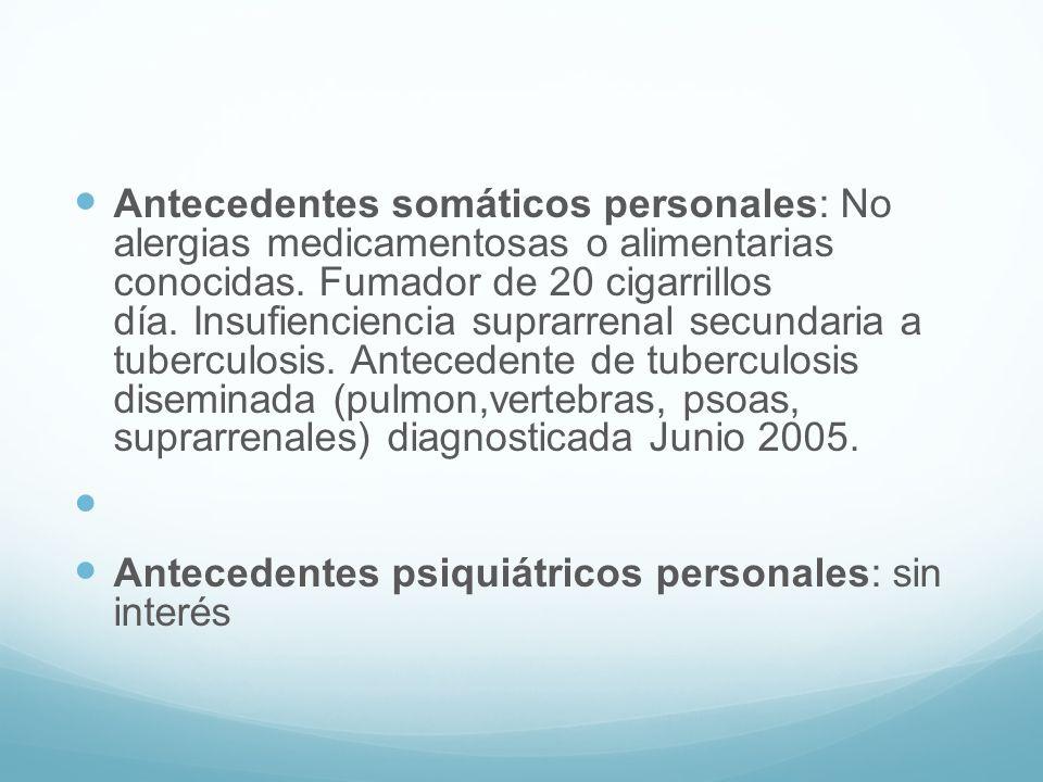 Antecedentes somáticos personales: No alergias medicamentosas o alimentarias conocidas. Fumador de 20 cigarrillos día. Insufienciencia suprarrenal sec