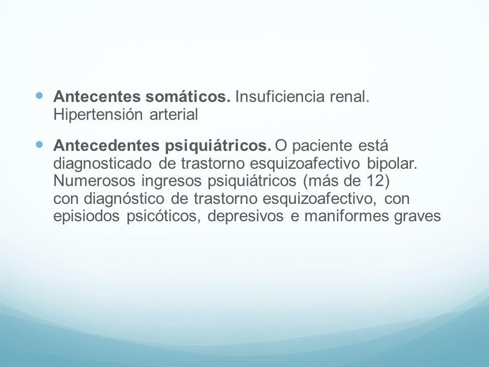 Antecentes somáticos. Insuficiencia renal. Hipertensión arterial Antecedentes psiquiátricos. O paciente está diagnosticado de trastorno esquizoafectiv