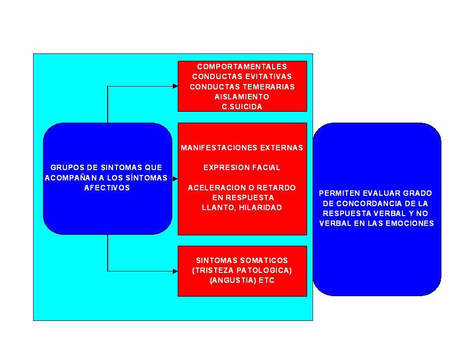 OTROS SINTOMAS DEPRESIVOS DISFORIA: ESTADO DEPRESIVO, CON INQUIETUD E IRRITABILIDAD ALEXITIMIA: INCAPACIDAD DE EXPRESAR LA EMOCIONES A TRAVES DEL LENGUAJE APROSODIA: FALTA DE ENTONACION EN EL USO DE LAS PALABRAS LABILIDAD AFECTIVA: CAMBIOS SUBITOS AFECTIVOS NO SIEMPRE INVOLUCRADOS A ESTIMULOS AMBIENTALES
