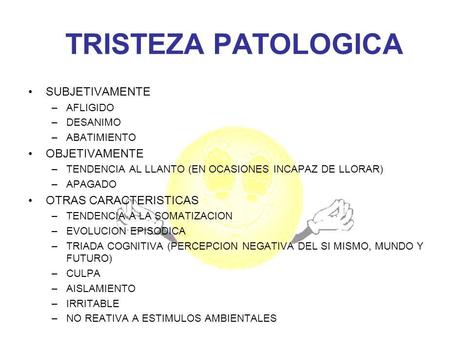 PATOLOGIAS FRECUENTES DE LA TRISTEZA PATOLOGICA TRASTORNOS AFECTIVOS –TRASTORNO BIPOLOAR –TRASTORNO DEPRESIVO MAYOR –TRASTORNO DISTIMICO TRASTORNOS ESQUIZOFRENICOS (ESQUIZOAFECTIVOS) TRASTORNOS ORGANICOS CEREBRALES (DEMENCIA) TRASTORNO MIXTO ANSIOSO DEPRESIVO