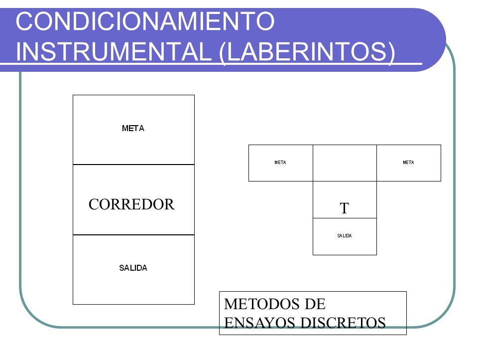 CONDICIONAMIENTO INSTRUMENTAL (LABERINTOS) METODOS DE ENSAYOS DISCRETOS CORREDOR T