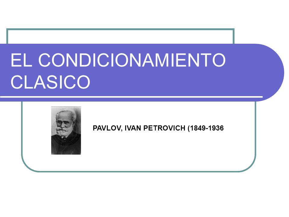 EL CONDICIONAMIENTO CLASICO PAVLOV, IVAN PETROVICH (1849-1936