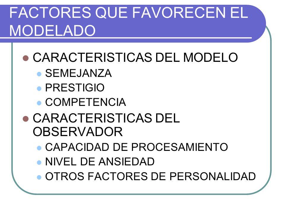 FACTORES QUE FAVORECEN EL MODELADO CARACTERISTICAS DEL MODELO SEMEJANZA PRESTIGIO COMPETENCIA CARACTERISTICAS DEL OBSERVADOR CAPACIDAD DE PROCESAMIENT