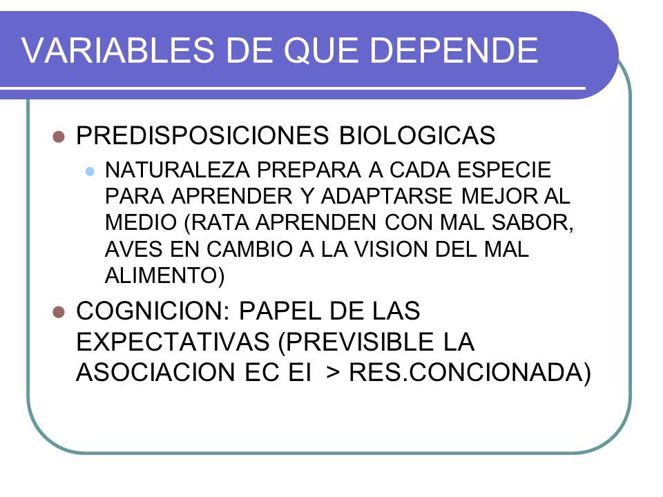 VARIABLES DE QUE DEPENDE PREDISPOSICIONES BIOLOGICAS NATURALEZA PREPARA A CADA ESPECIE PARA APRENDER Y ADAPTARSE MEJOR AL MEDIO (RATA APRENDEN CON MAL