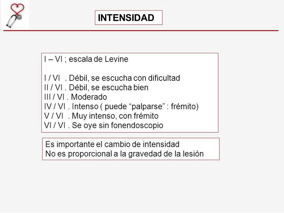 INTENSIDAD I – VI ; escala de Levine I / VI. Débil, se escucha con dificultad II / VI. Débil, se escucha bien III / VI. Moderado IV / VI. Intenso ( pu