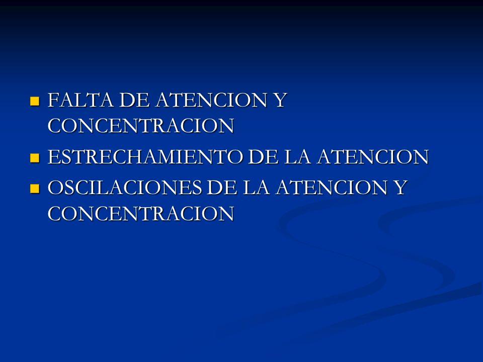 FALTA DE ATENCION Y CONCENTRACION INCAPACIDAD O CAPACIDAD DISMINUIDA DE ENFOCAR (ACTIVARSE) Y ORIENTAR ESA ACTIVIDAD A UN OBJETO INCAPACIDAD O CAPACIDAD DISMINUIDA DE ENFOCAR (ACTIVARSE) Y ORIENTAR ESA ACTIVIDAD A UN OBJETO TRASTORNO DE LA CAPACIDAD DE PRESTAR ATENCION PERSISTENTE A UNA ACTIVIDAD, OBJETO O VIVENCIA INTERNA TRASTORNO DE LA CAPACIDAD DE PRESTAR ATENCION PERSISTENTE A UNA ACTIVIDAD, OBJETO O VIVENCIA INTERNA GRAN DISTRAIBILIDAD CON FALTA DE CONCENTRACION (HIPOPROXESIA) GRAN DISTRAIBILIDAD CON FALTA DE CONCENTRACION (HIPOPROXESIA) FALTA TOTAL DE ATENCION Y GRAN DISTRAIBILIDAD (APROXESIA) EJ: ESTADOS CONFUSIONALES FALTA TOTAL DE ATENCION Y GRAN DISTRAIBILIDAD (APROXESIA) EJ: ESTADOS CONFUSIONALES