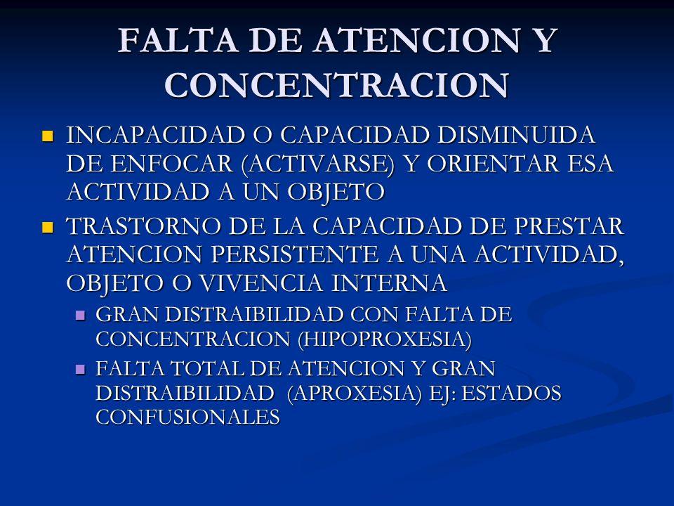 FALTA DE ATENCION Y CONCENTRACION INCAPACIDAD O CAPACIDAD DISMINUIDA DE ENFOCAR (ACTIVARSE) Y ORIENTAR ESA ACTIVIDAD A UN OBJETO INCAPACIDAD O CAPACID