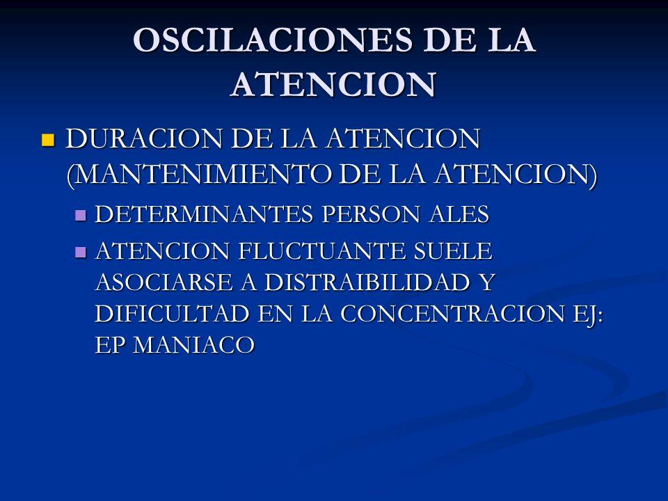 OSCILACIONES DE LA ATENCION DURACION DE LA ATENCION (MANTENIMIENTO DE LA ATENCION) DURACION DE LA ATENCION (MANTENIMIENTO DE LA ATENCION) DETERMINANTE