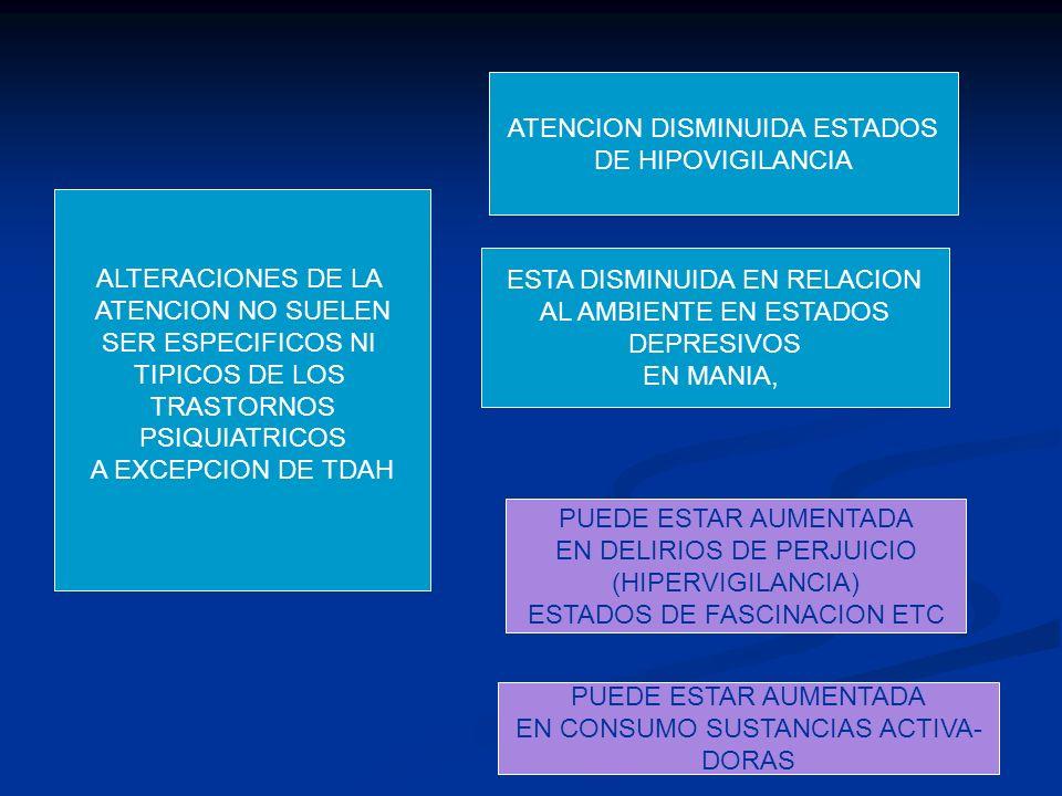 ALTERACIONES DE LA ATENCION NO SUELEN SER ESPECIFICOS NI TIPICOS DE LOS TRASTORNOS PSIQUIATRICOS A EXCEPCION DE TDAH ATENCION DISMINUIDA ESTADOS DE HI