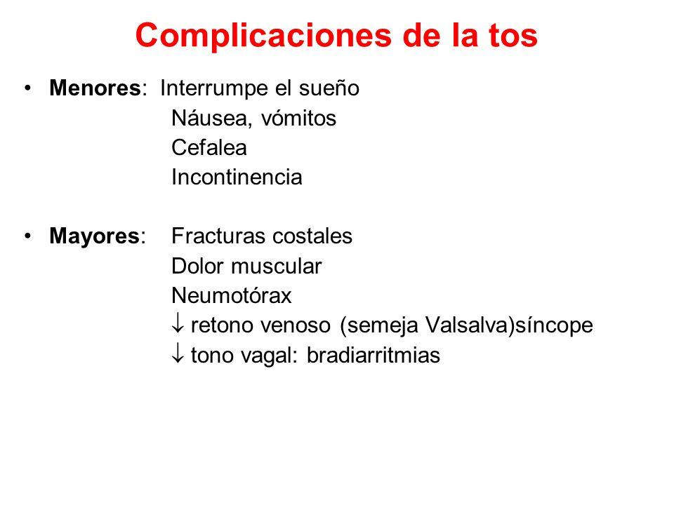 Complicaciones de la tos Menores: Interrumpe el sueño Náusea, vómitos Cefalea Incontinencia Mayores: Fracturas costales Dolor muscular Neumotórax reto